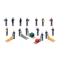 Employees Postal or Warehouse Company in Isometric vector image vector image