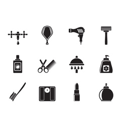 Silhouette Personal care and cosmetics icons vector image