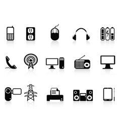 black electronic icons set vector image