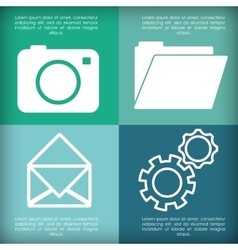 camera envelope file gears apps design vector image