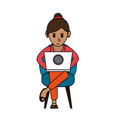 Colorful image cartoon woman sitting in chair with vector