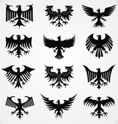 Heraldic Eagle Silhouettes vector image