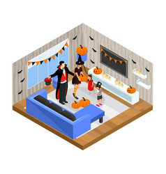 isometric happy halloween celebration concept vector image vector image
