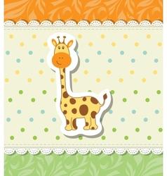 Vintage doodle little giraffe for greeting card vector image vector image