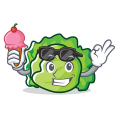 with ice cream lettuce character cartoon style vector image