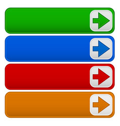 4 color banners buttons with arrows vector