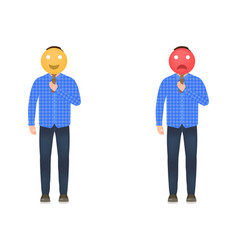 A man holds a mask with a cheerful and sad face vector