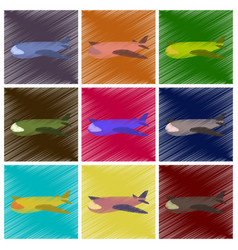 Assembly flat shading style icons toy airplane vector