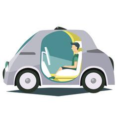 autonomous smart vehicle with passenger poster vector image