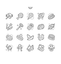 bbq 2 well-crafted pixel perfect thin line vector image