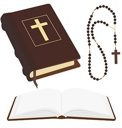 Bible and rosary beads vector image