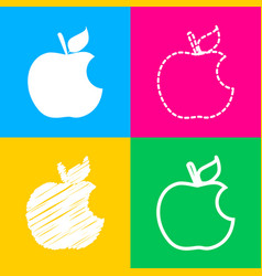 bite apple sign four styles of icon on four color vector image