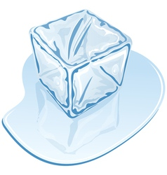 blue half-melted ice cube vector image