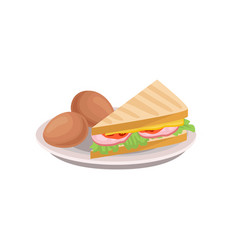 boiled eggs and triangle sandwich with lettuce vector image
