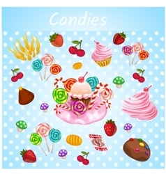 Bright explosive set of bakery vector image
