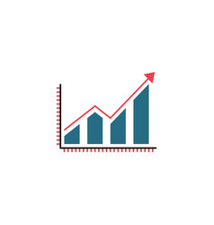 business growing graph solid icon infographic vector image