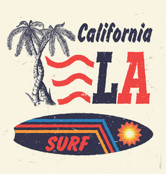 California surf handmade palms trees vector