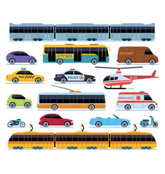 car transport set vehicles city transportation vector image