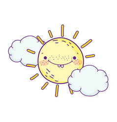 cartoon character sun clouds weather design vector image