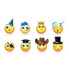 Cartoon funny emoticons set vector