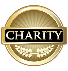 Charity gold label vector