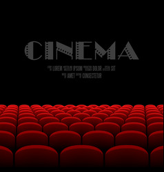 Cinema auditorium with black screen and red seats vector image