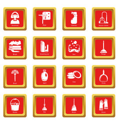 cleaning tools icons set red square vector image