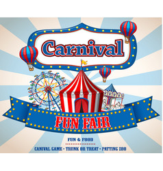 Colorful carnival funfair banner vector