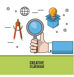colorful poster creative process with hand holding vector image