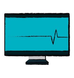 Computer display with cardiology line vector