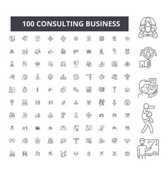 consulting business editable line icons 100 vector image