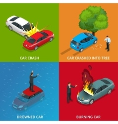 Crush car drowned car burning car car crushed vector