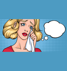 Crying woman face sad girl horizontal background vector