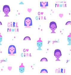 cute girls and feminist quotes seamless pattern vector image