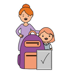 cute little student girl with female teacher and vector image