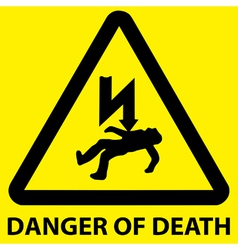 Danger of death sign vector image