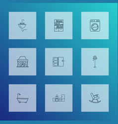 Decor icons line style set with washing machine vector