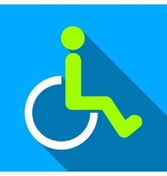 Disabled Person WC Flat Long Shadow Square Icon vector