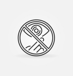 do not touch eye concept icon in outline vector image