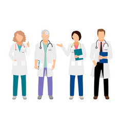 Doctor and nurses in white coats vector