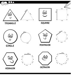 draw basic geometric shapes color book vector image