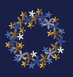 elegant blue and gold floral element vector image