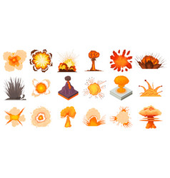 explosion icon set cartoon style vector image