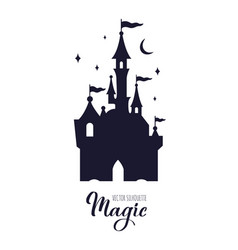 Fairy tale medieval castle silhouette wit night vector