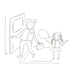 Father and daughter comic cartoon vector image