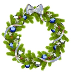 Fir Wreath with Blue Decorations vector image
