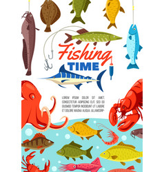 Fishing time with seam animals in water vector