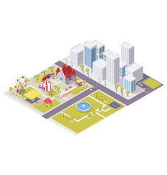 flat isometric city with amusement park vector image