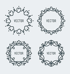 Floral Frame Mono Line Style Design Template vector