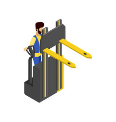 Forklift cart isometric 3d icon vector
